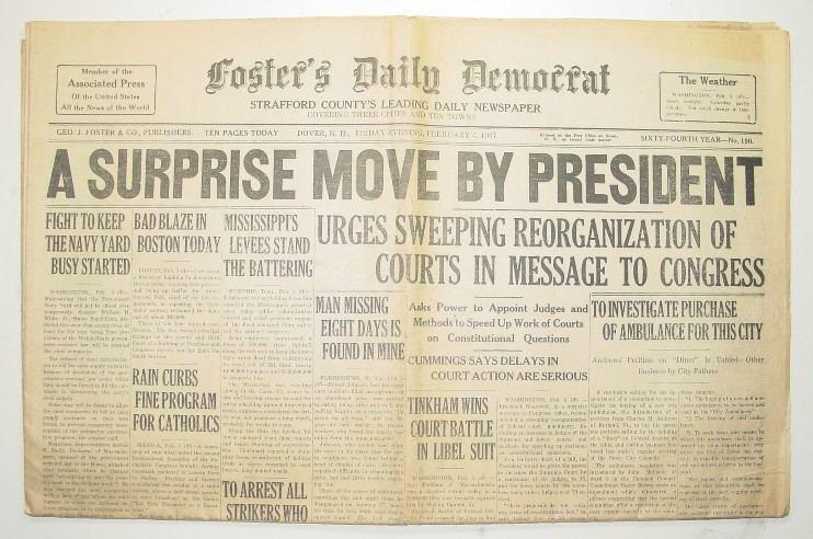 President Roosevelt's 1937 Court Packing Scheme Newspaper